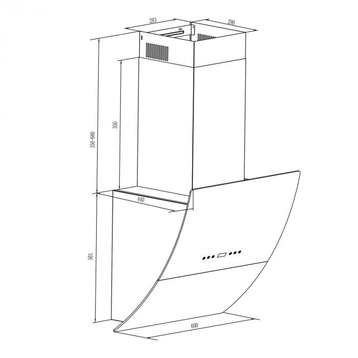 RGL60BL Dunstabzugshaube Kopffrei 60 cm 600 m³/h Glas Timer schwarz