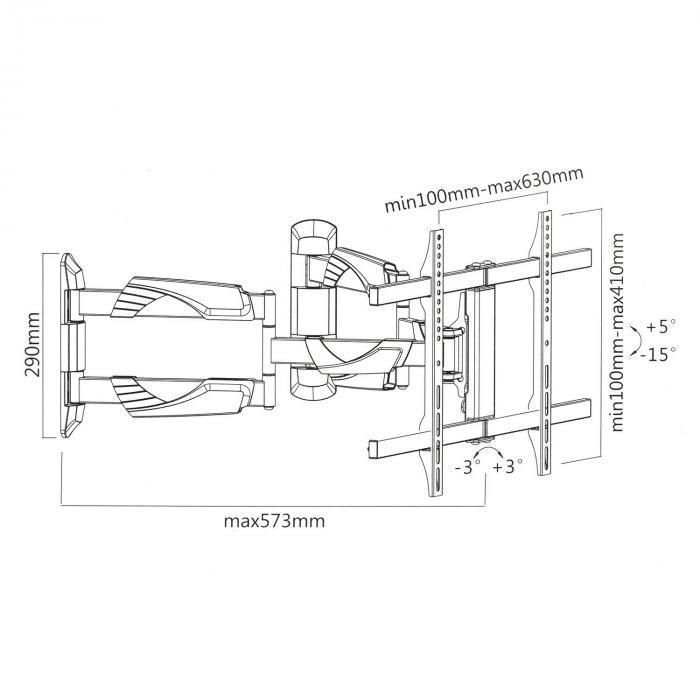 TV-seinäteline LED LCD kallistettava käännettävä max. 45 kg