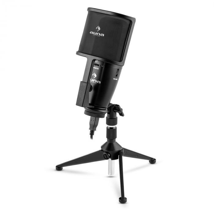 Studio-Pro grootmembraan condensator-USB-microfoon tafelstatief Pop-/windscherm