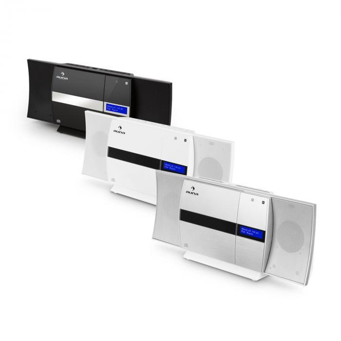V-20 DAB vertikaalinen stereolaitteisto Bluetooth NFC CD USB MP3 DAB+ hopea-valkoinen