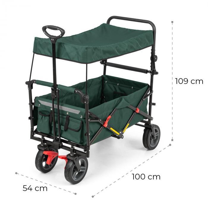 Easy Rider Bollerwagen mit Dach bis 70kg Teleskopstange grün