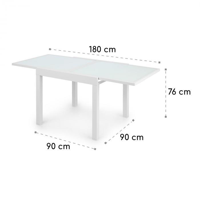 Pamplona Extension Gartentisch 180 x 83 cm max. Aluminium Glas weiß