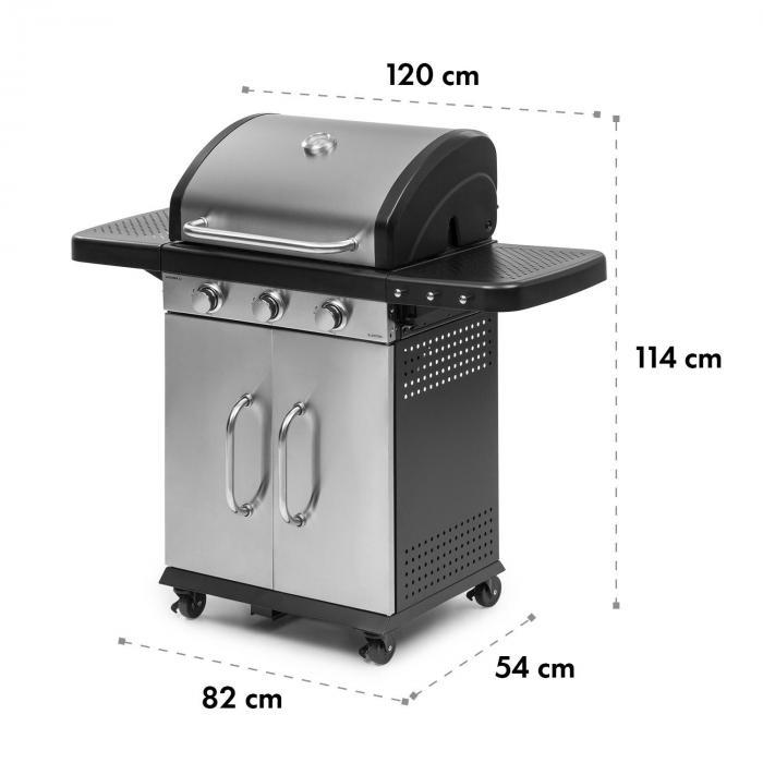 Gazooka 3.0T BBQ Grill 3x3kW Brenner 4 Rollen Edelstahl