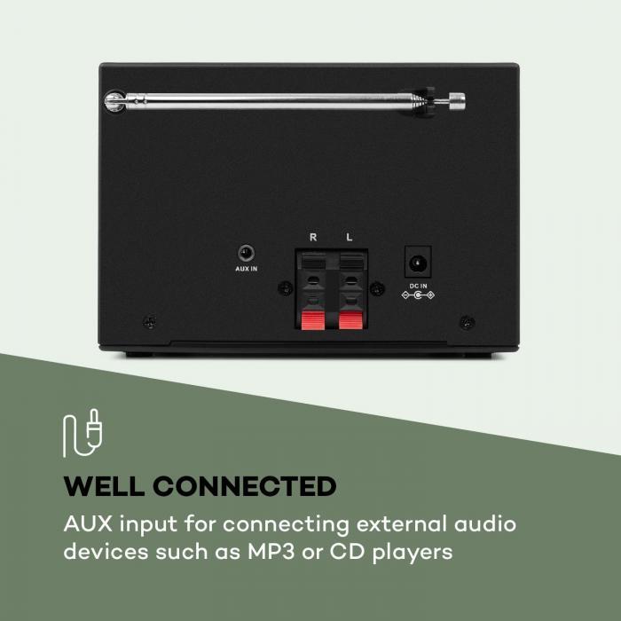 Streamo -stereot internetradiolla WLAN DAB+ UKW CD-soitin BT musta