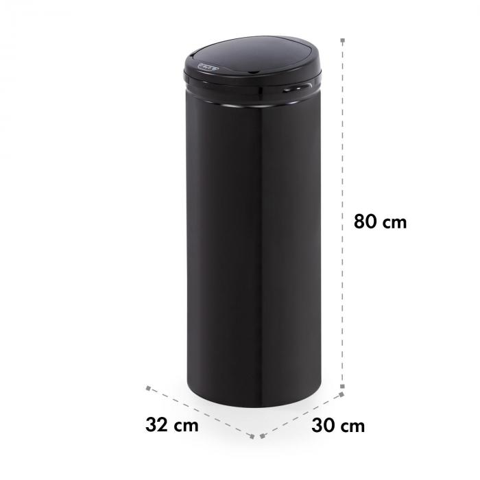 Cleanton Waste Bin Round Sensor 50 Litres for Bin Bags ABS Black
