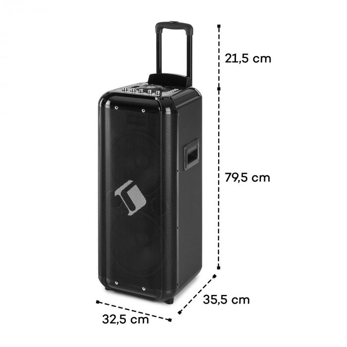 "Moving 2100 PA-järjestelmä 2x10"" woofer 100/300 W UHF-mikrofoni USB SD BT AUX kuljetettava"