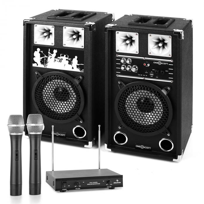 PA Karaoke Set 2 x PA Speakers 2 x Wireless Microphones