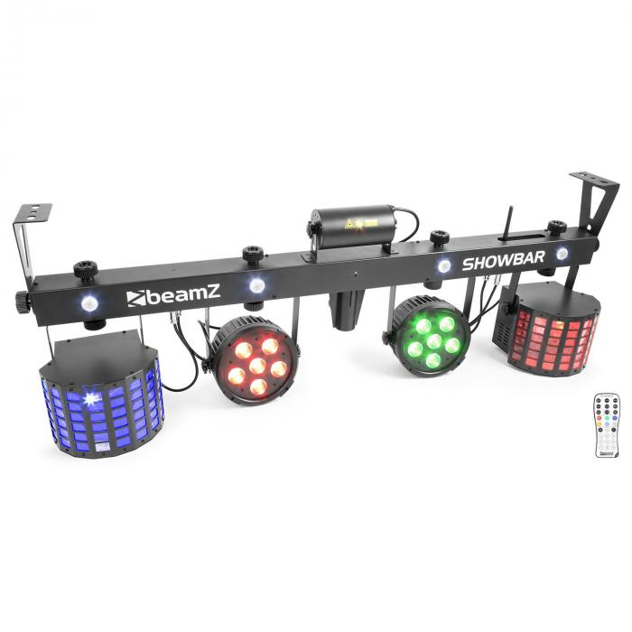 ShowBar 2x PAR 2x Butterfly R/G-Laser incl. Wireless Footswitch Remote Control