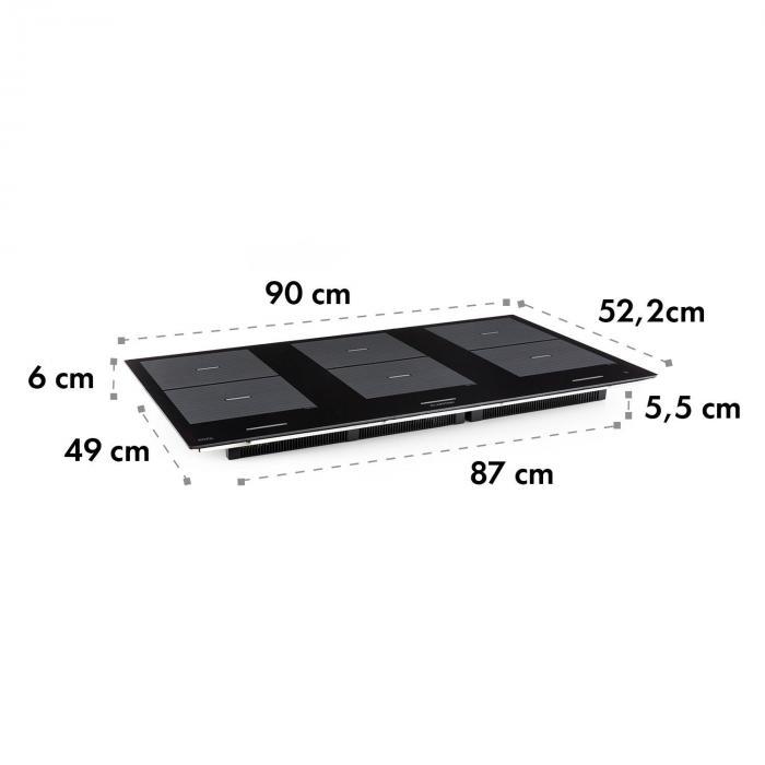 Virtuosa Flex 90 Induction Hob 6 Zones 10800W Ceran Built-in Black