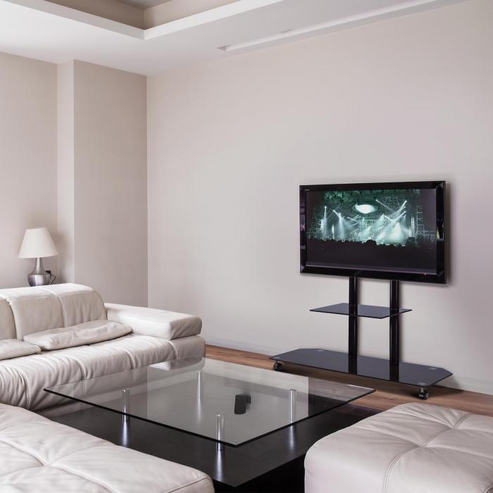 Supporto tv in alluminio con base in vetro nero