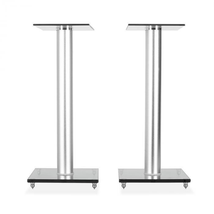 BS58 Design Boxen-Paar Lautsprecher Ständer Glas Aluminium