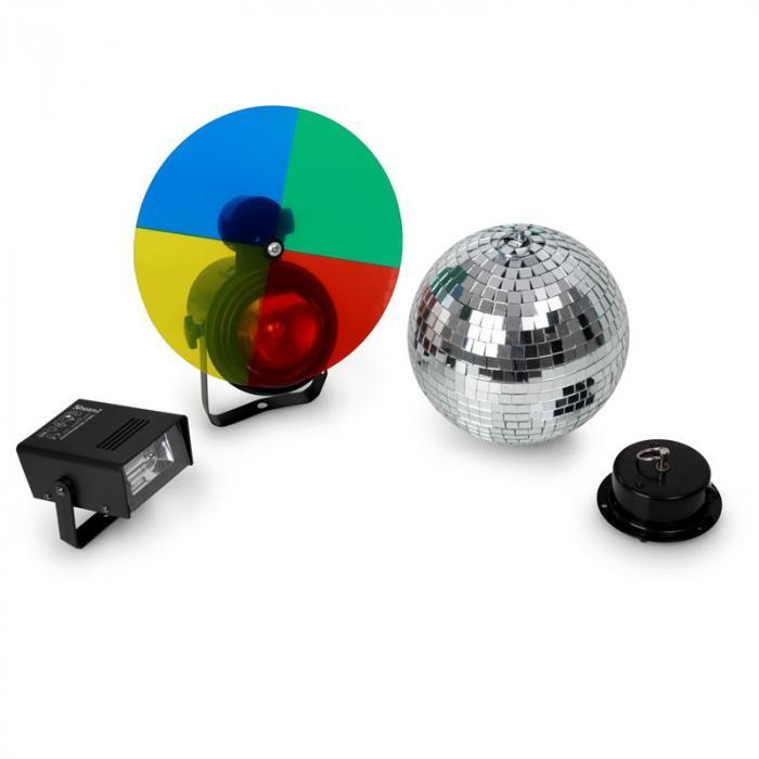 Disco Ball, Strobe and Multi Color Spotlight Set