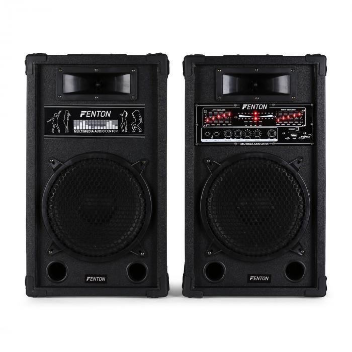Skytec SPA1000 10 Active Speakers Home Party MP3 USB SD Microphone Inputs 800W