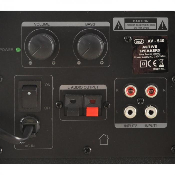 AV-540BK Paar aktiver HiFi-Boxen 80W abgeschirmt