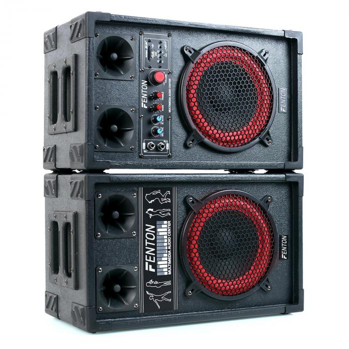 SPB-8 PA Aktiv Passiv Boxen Set 400W max. 20cm Woofer USB SD MP3