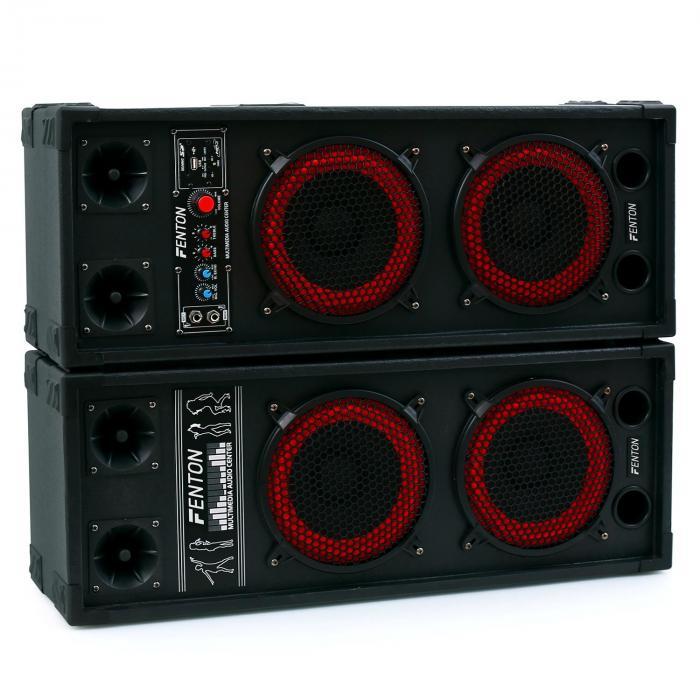 SPB-28 Aktiv Passiv Boxen Set 800W 2x20cm Woofer USB/SD Bluetooth MP3