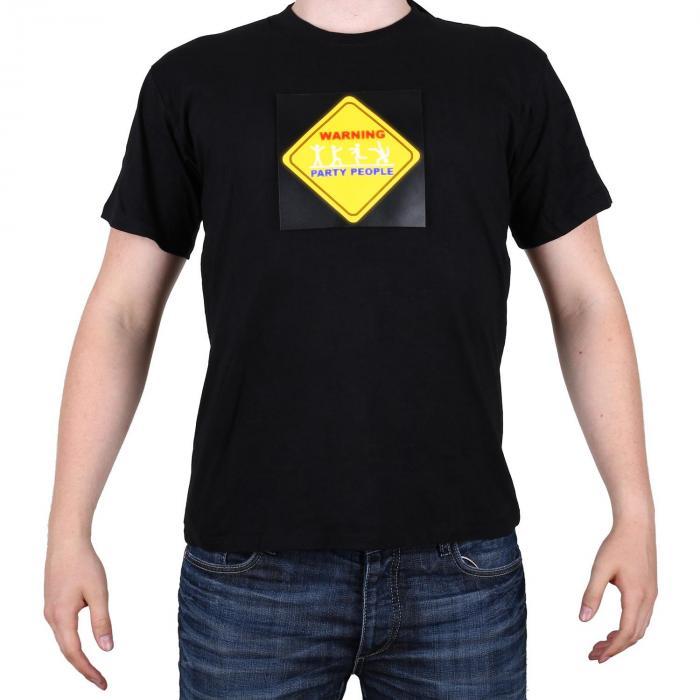 STS-PAR T-Shirt LED 3-Farben Warning Party People Design Größe XL