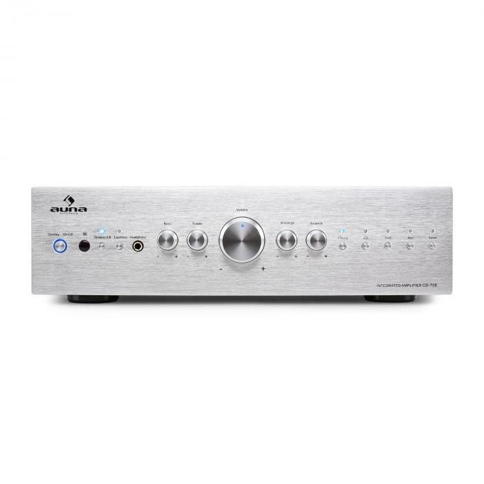 CD708 stereo-versterker AUX Phono Zilver 600W