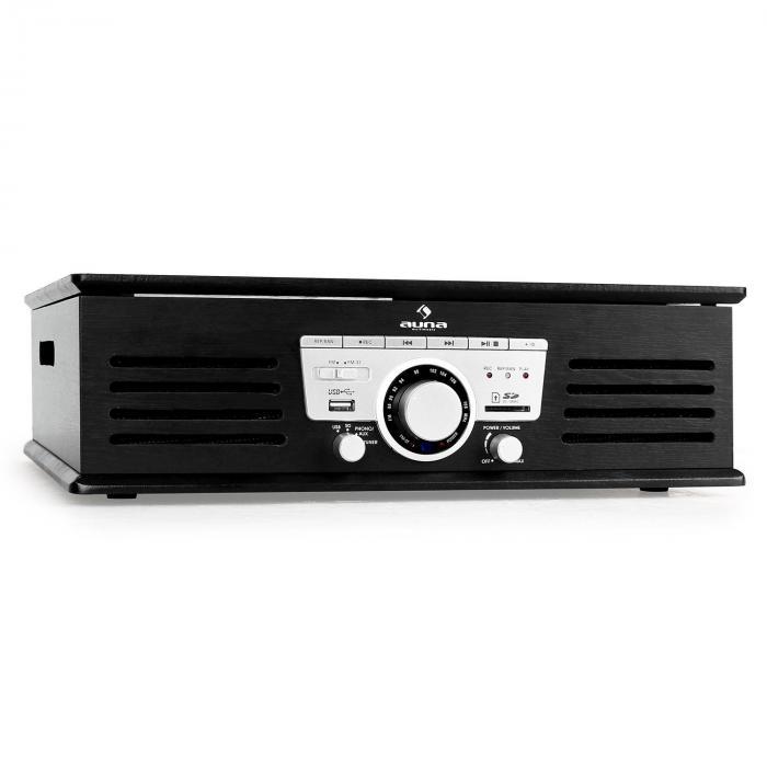 TT-92B giradischi USB SD AUX nero Altoparlanti Integrati