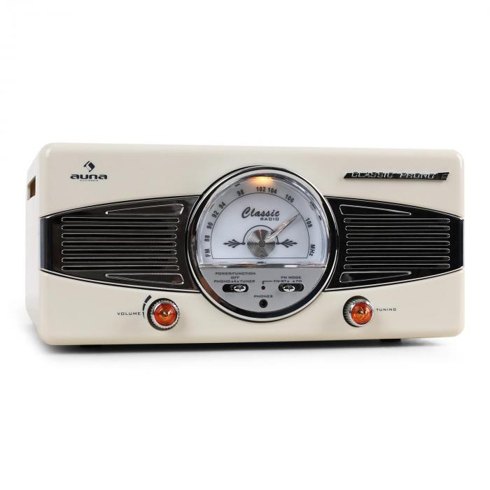 MG-TT-82C Retro '50s Record Player Turntable FM Radio Cream