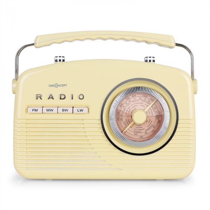 NR-12 Radio retrò anni 50 giallo crema
