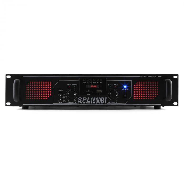 SPL 1500BTMP3 Hifi-PA-Verstärker Bluetooth USB SD MP3 AUX UKW LED 1500W