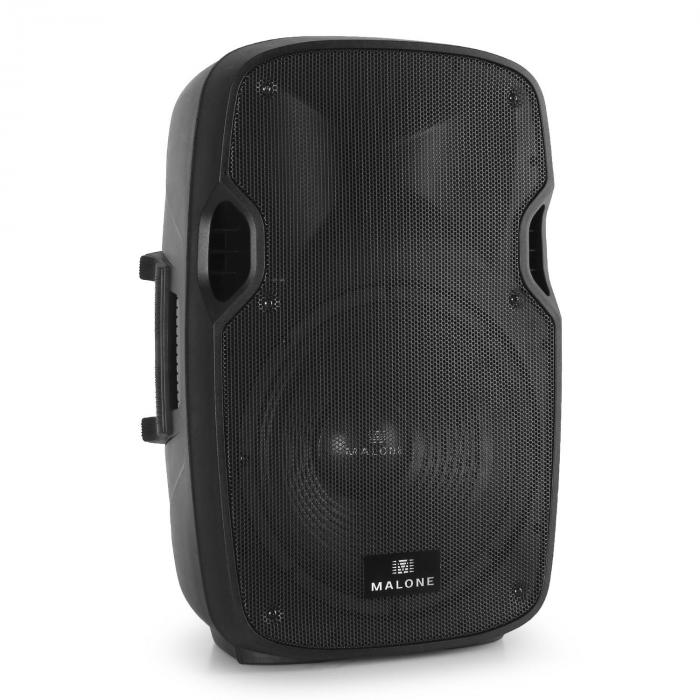 "2.0 Malone PA Active Speaker Set 2 x 12"" Monitor Speakers & 2 x Tripods"