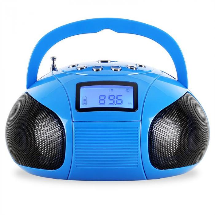 Bamboombox mini radio SD USB Bluetooth turchese