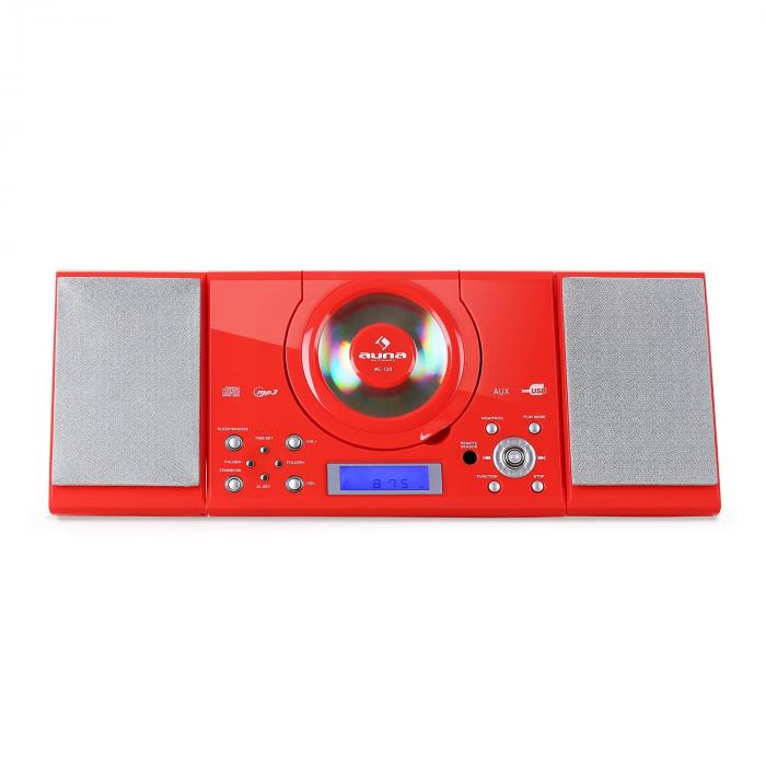 MC-120 Hi-Fi Stereo System MP3 CD Player USB Red
