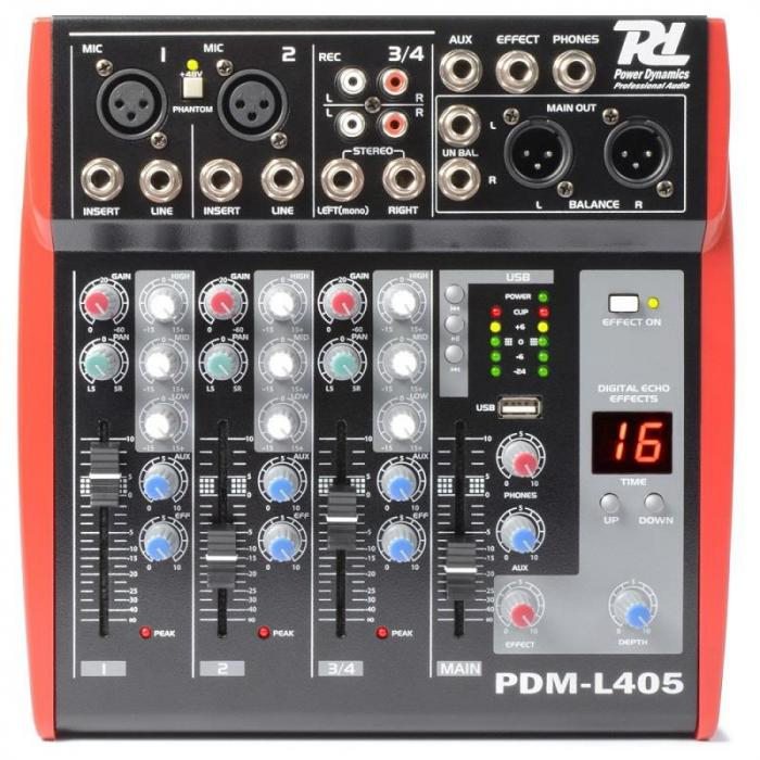 PDM-L405 4-kanavainen mikseri USB AUX MIC
