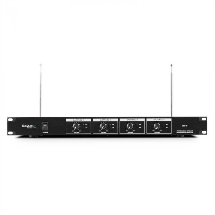 VHF4 Set Radiomicrofono 4 Canali 3 x Microfono 1 x Cuffia60m