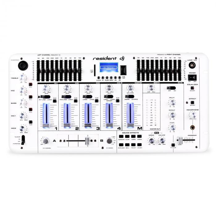 Kemistry 3 WH 4-Kanal-DJ-Mischpult Bluetooth USB SD Phono weiß