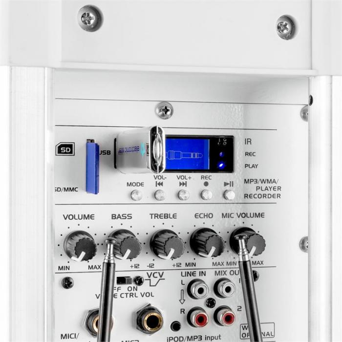 """Port12VHF-BT 30cm (12"""") PA-Anlage weiß USB SD AUX MP3 Bluetooth"""