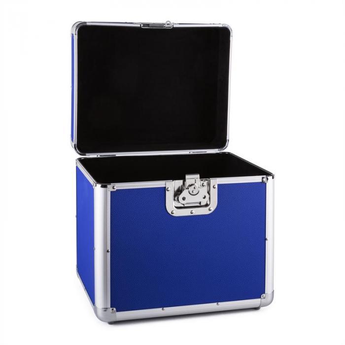 Zeitkapsel Aluminium-Plattenkoffer Vinyl-Case 70 Stück LP blau