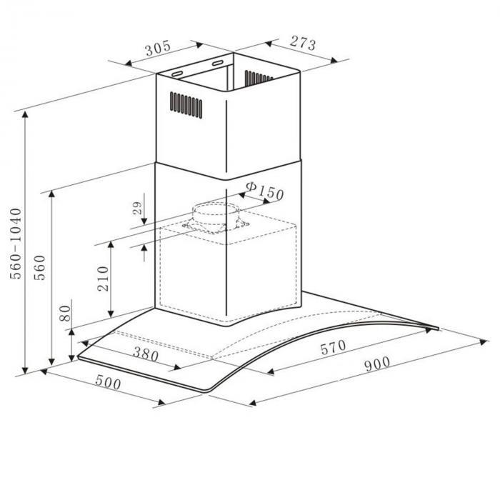 GL90WSB liesituuletin teräs 90cm 400m³/h