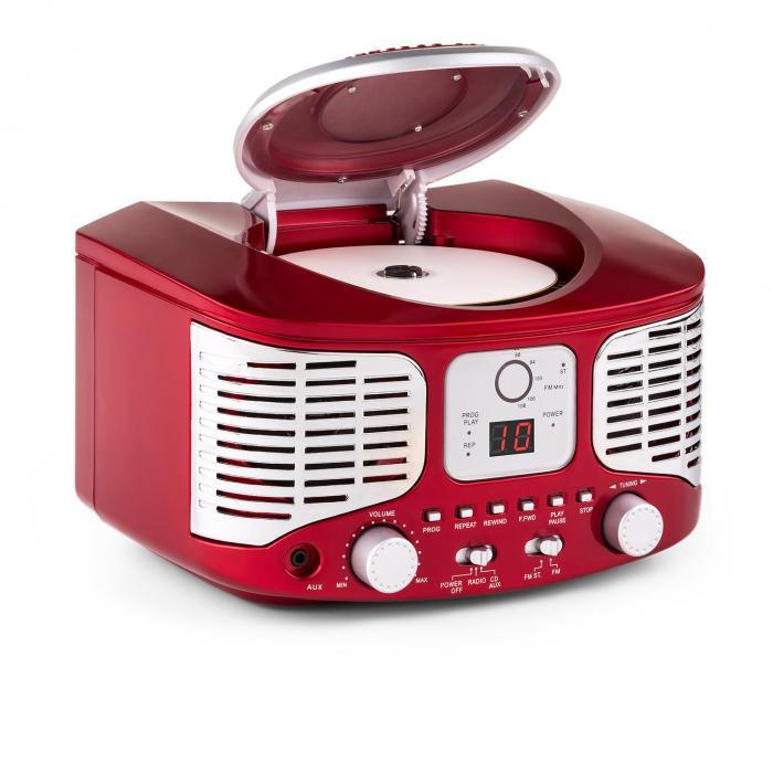 RCD320 Lettore CD Retrò FM AUX Rosso