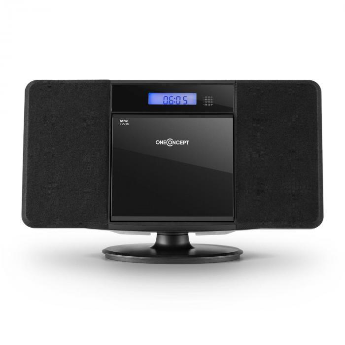 V-13 stereolaite CD MP3 USB radio herätyskello musta seinäasennus