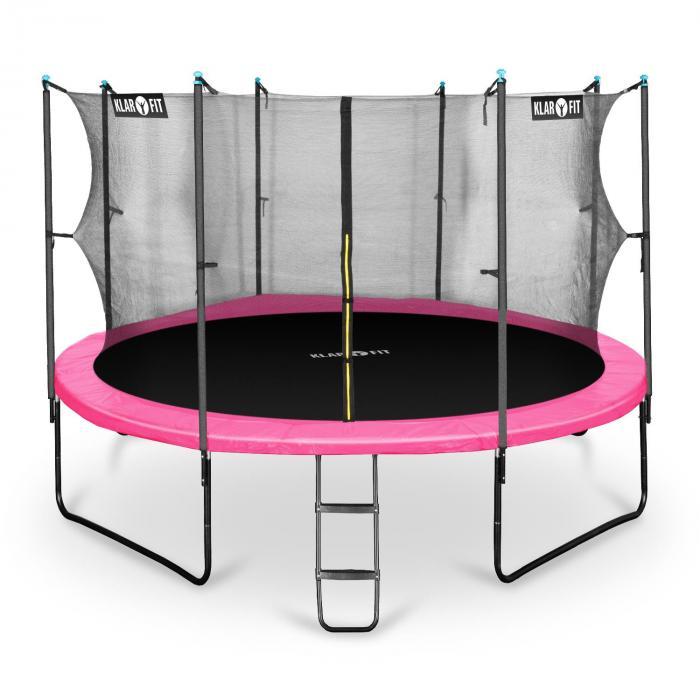Rocketgirl 430 Trampolin 430cm Sicherheitsnetz innen breite Leiter pink