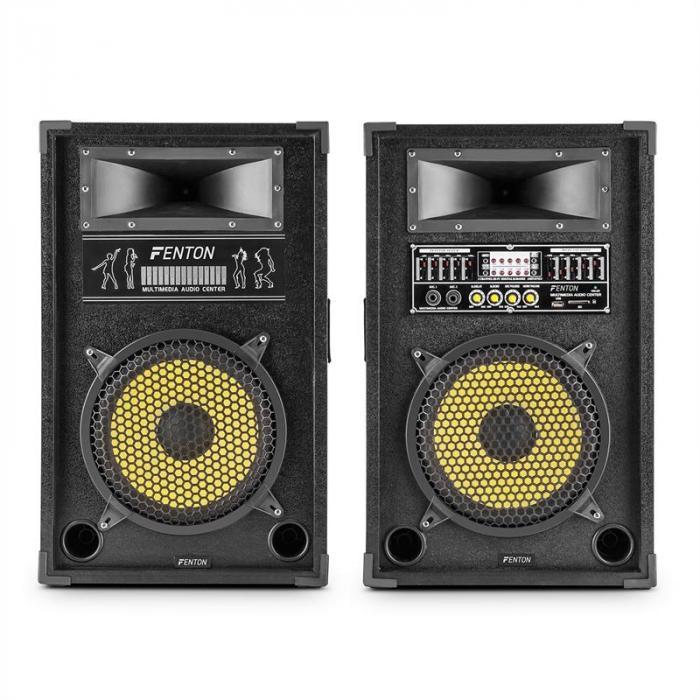 SkyTec SPA1000Y coppia di casse acustiche PA 25cm (10'') 800W max. USB SD MP3 EQ