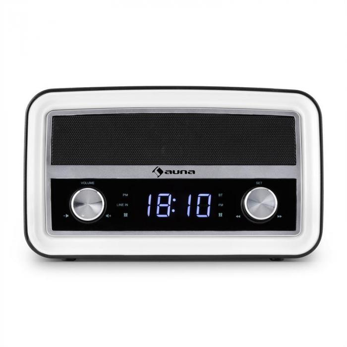 Caprice BK Retro Radio Alarm Clock Bluetooth FM USB AUX Black