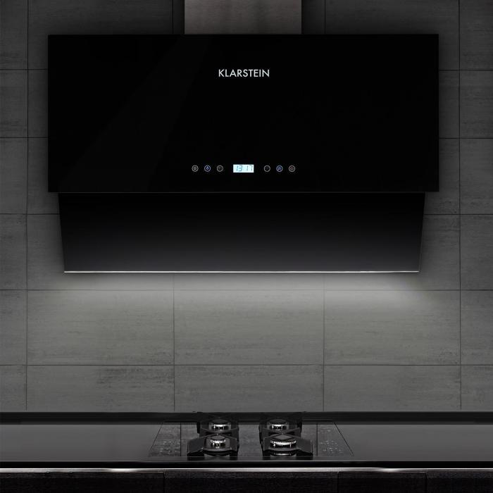 Aurea VII Extractor Cooker Hood 90 cm touch panel black glass