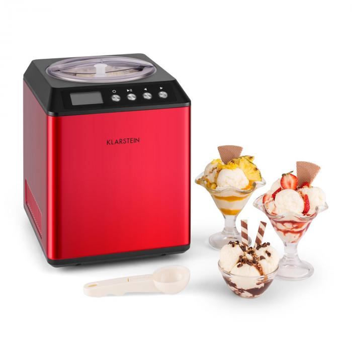 Vanilla Sky Ice Cream Machine Compressor 2L Stainless Steel 180W Red