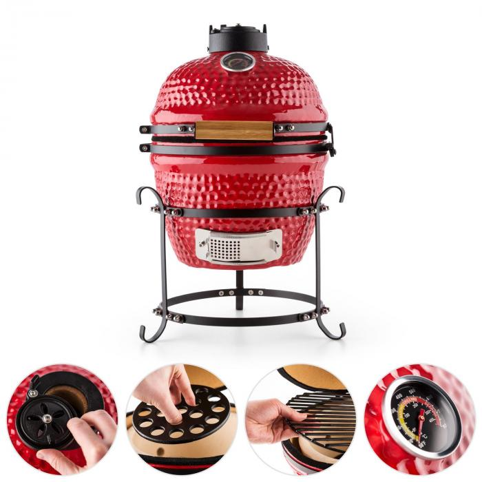 "Prince-sized Kamado Grill Ceramic Grill Oven 11"" Smoker BBQ Slow Cooking red"
