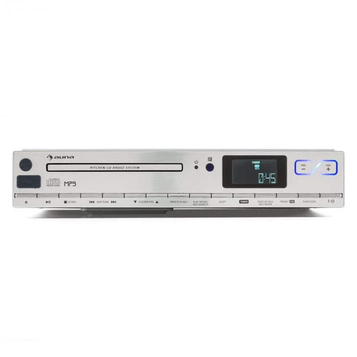 MCD-20 Kitchen Unter-Counter Radio CD MP3 RDS FM Remote Control Silver