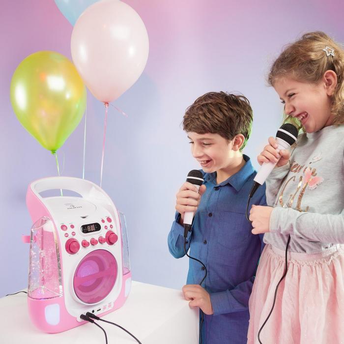 Kara Liquida rosa + Dazzl Mic Set Karaoke Microfono Luci LED