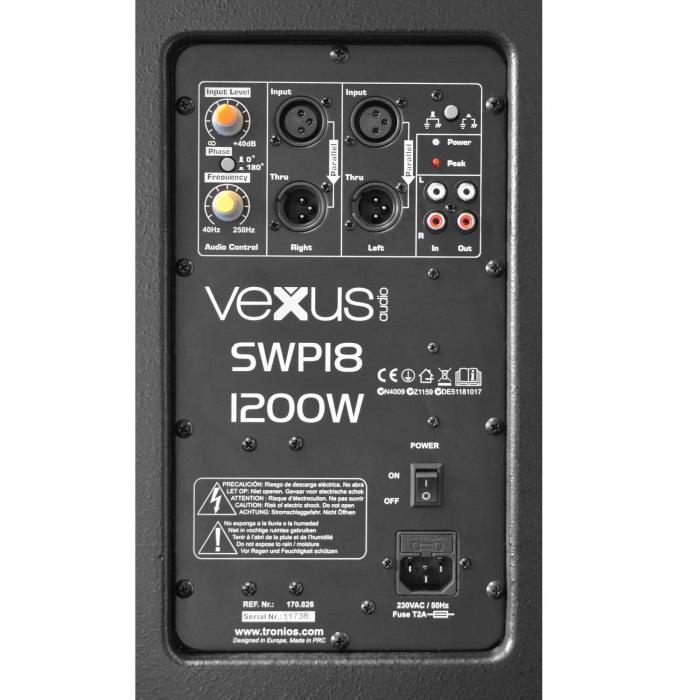 """SWP18 PRO Subwoofer Attivo PA 46 cm (18"""") 600W max."""
