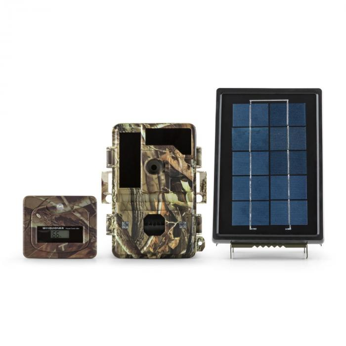 Solar Grizzly Wildkamera Set Black LED HD 8 MP Solar-Panel