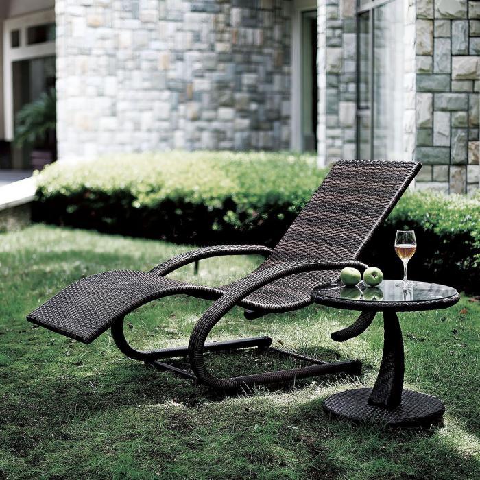 Daybreak leżak bujany relaksacyjny brązowy aluminium technorattan