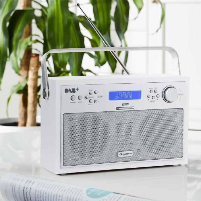 Akkord Radio Digitale Portatile DAB+/PLL-FM LCD Allarme Bianca