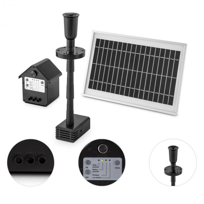 wasserwerk 500 wasserpumpe solar springbrunnen 500 l h led akku online kaufen elektronik star de. Black Bedroom Furniture Sets. Home Design Ideas